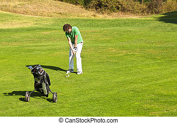 Fairway - Golf player taking a swing on the fairway of a...