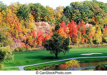 Fairway in the Fall - Autumn colors at the golf course in...