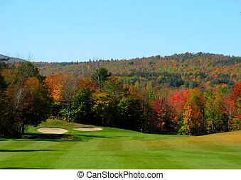 fairway to fall - autumn golf fairway with the green in the...