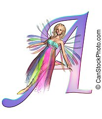 Fairy Alphabet - letter A - Upper case letter A from a fairy...