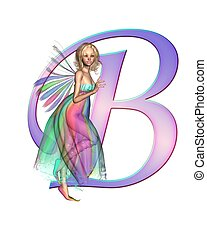 Fairy Alphabet - letter B - Upper case letter B from a fairy...
