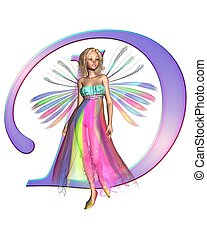 Fairy Alphabet - letter D - Upper case letter D from a fairy...