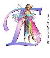 Fairy Alphabet - letter E - Upper case letter E from a fairy...