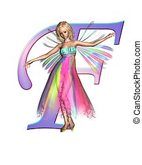 Fairy Alphabet - letter F - Upper case letter F from a fairy...
