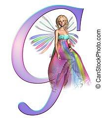 Fairy Alphabet - letter G - Upper case letter G from a fairy...