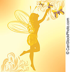 Fairy and butterflies on a yellow background. Vector...