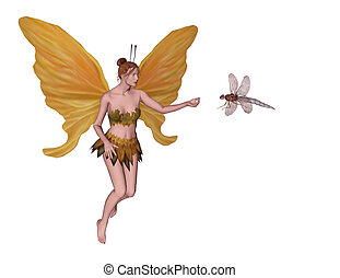 Fairy and dragonfly - Cute fairy greeting the dragonfly