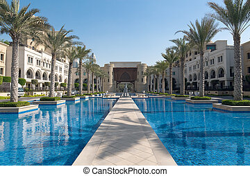 Fairy arabian palace - Majestic arabian palace. Alley with...