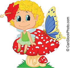 fairy, baby, alf, siddende, cartoon, m