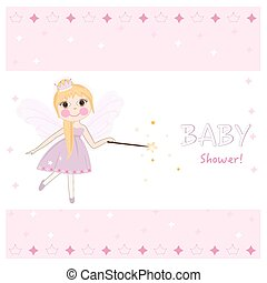 Fairy baby shower greeting card with crown, diamonds vector.eps