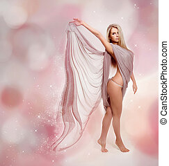 Fairy. Beautiful Blond Girl in Blowing Dress Flying