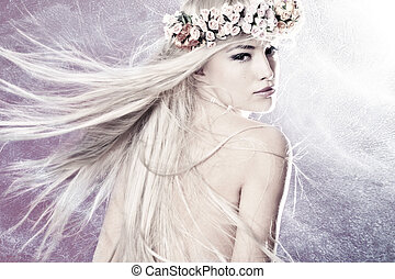 fairy - beautiful young woman with long blond flying hair ...