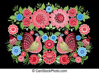 Fairy birds in flowers