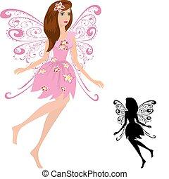 fairy, blomster, pige