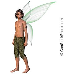 Fairy Boy with green gossamer wings, 3d digitally rendered...