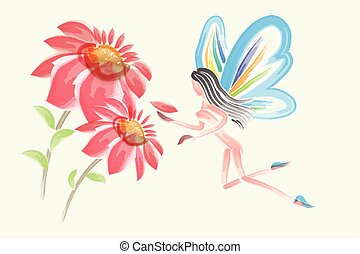 Fairy butterfly and flowers watercolor vector design
