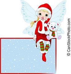 fairy, card christmas, sted