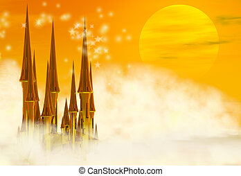 Fairy Castle - A golden fairy tale castle in the clouds