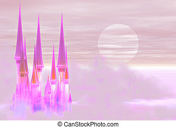 Fairy castle - A fantastic fairy castle floating in the...
