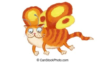 Fairy cat flight looped animation - Cartoon fairy cat...