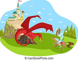 Fairy character prince defeat red dragon, save princess, castle, flat vector illustration. Rider on horse fighting fire breather serpent.