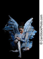 Fairy contemplating - Fairy in contemplating position. ...