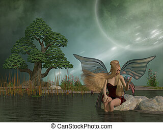 Fairy Daina by Pond - A woodland fairy plays with her pet...