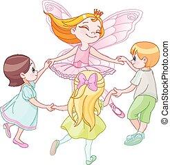 Fairy dancing with children