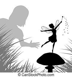 Fairy discovery - EPS8 editable vector illustration of a...