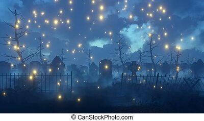 Fairy firefly lights at spooky night cemetery 4K - Magical...
