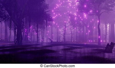 Fairy firefly lights in marshy night forest 4K - Mysterious...