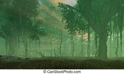 Fairy firefly lights in misty night forest - Supernatural ...
