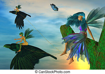 Fairy Flyers - Two fairies sitting on ravens capturing...