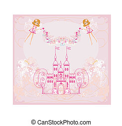 fairy flying above castle