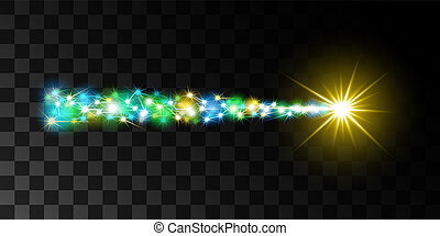 Fairy flying comet with a luminous tail