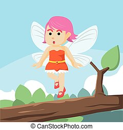 fairy flying on branch