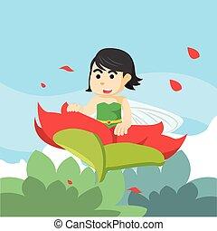 fairy flying over flowers
