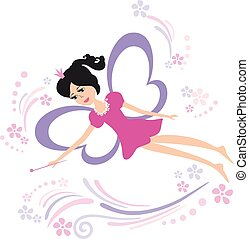 Fairy flying with a magic wand.