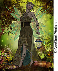 A fairy with iridescent wings carries a lantern through the magical forest.