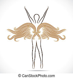 fairy girl with golden wings stock vector