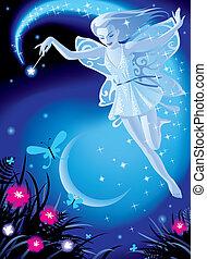 Fairy girl - vector image of luminous fairy girl on a blue...