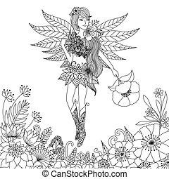 Fairy girl - Hand drawn fairy flying in flower land for...