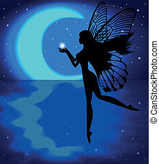 Fairy girl holding a star