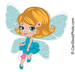 Fairy girl in elegant  dress   on a white background