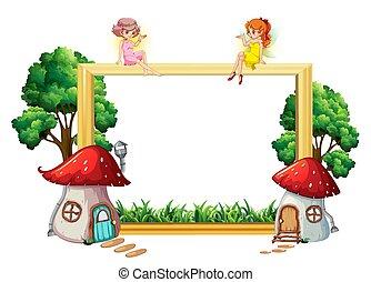 Fairy girl on wooden frame