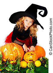 fairy girl - Cute little girl in a witch costume posing with...
