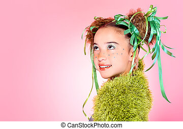 fairy girl - Portrait of a happy funny girl with holiday...