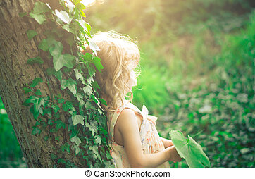 fairy girl - fairy surreal blond girl retro effect