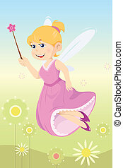 Fairy girl - A vector illustration of a beautiful fairy girl