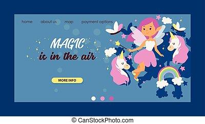Fairy girl vector web landing page magic faery character and fantasy beautiful princess cartoon unicorn of fairy-tale in fairyland rainbow backdrop web-page illustration background